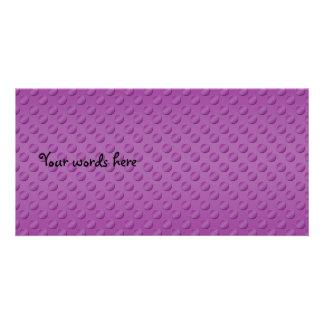 Purple polka dots on purple background photo card template