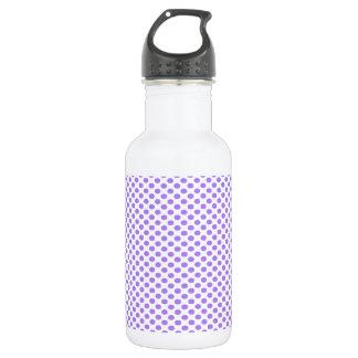 Purple Polka Dots on White 532 Ml Water Bottle
