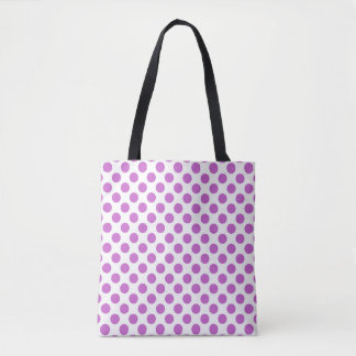 Purple polka dots pattern tote bag