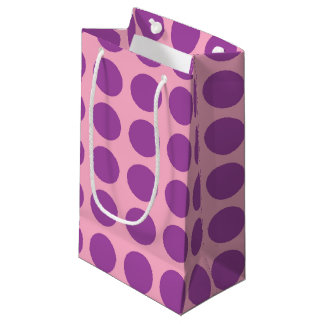 Purple Polka Dots Pink Small Gift Bag