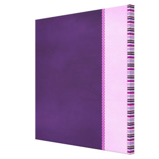PURPLE POLKA-DOTS STRIPES SOLID PINKS DECORATIVE P STRETCHED CANVAS PRINT