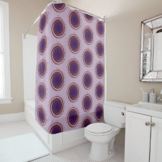 Purple Polka Dots Swirling Circles Shower Curtain