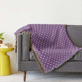 Purple Polka Dots Throw Blanket