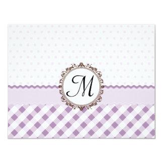 Purple Polkadots, Checks and Stripes with Monogram 11 Cm X 14 Cm Invitation Card