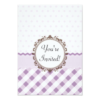Purple Polkadots, Checks and Stripes with Monogram 13 Cm X 18 Cm Invitation Card