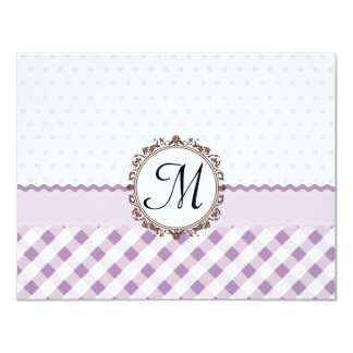 Purple Polkadots, Checks and Stripes with Monogram Personalized Announcements