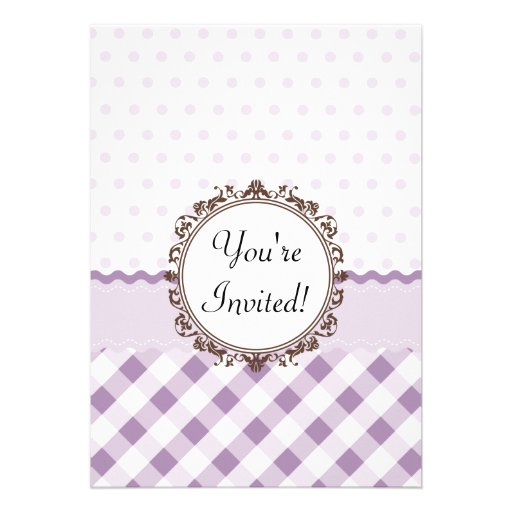 Purple Polkadots, Checks and Stripes with Monogram Card