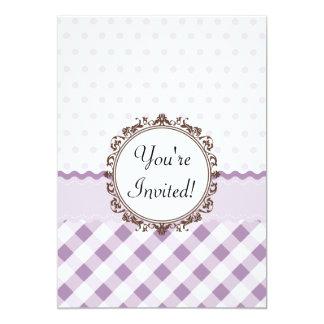 Purple Polkadots, Checks and Stripes with Monogram Card