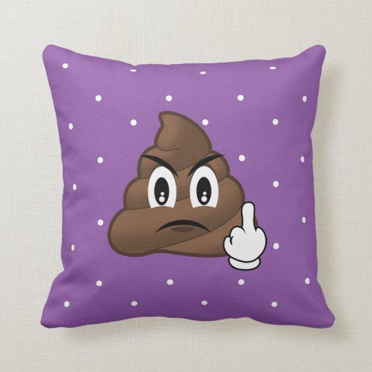 Purple Polkadots Middle Finger Poop Emoji Pillow