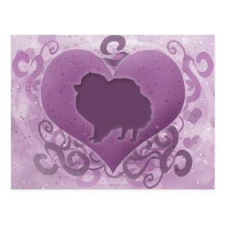 Purple Pomeranian Valentine Postcard