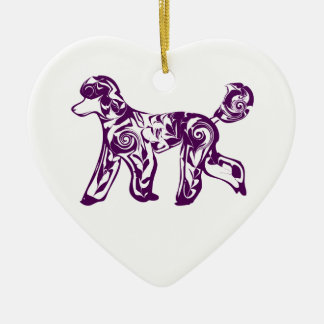 purple poodle christmas ornament