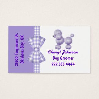 Purple Poodle Dog Groomer Business Card