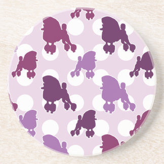 Purple Poodle Polka Dot Sandstone Coaster