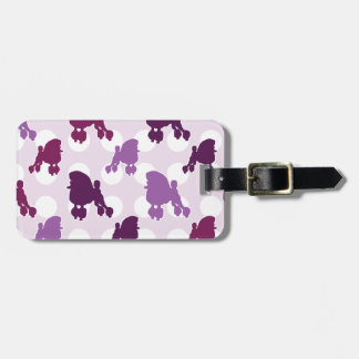 Purple Poodle Polka Dot Luggage Tag