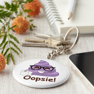 Purple Poop Emoji Oops Key Ring
