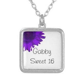 Purple Pop Art Flower Sweet 16 Necklace