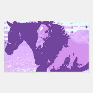 Purple Pop Art Horses Rectangular Sticker