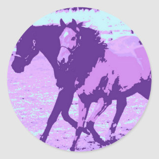 Purple Pop Art Horses Round Sticker