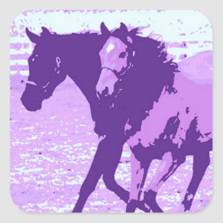Purple Pop Art Horses Square Sticker