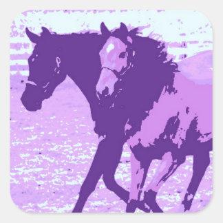 Purple Pop Art Horses Square Sticker