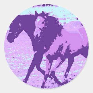 Purple Pop Art Horses Stickers
