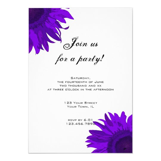 Purple Pop Art Sunflower Party Invitation