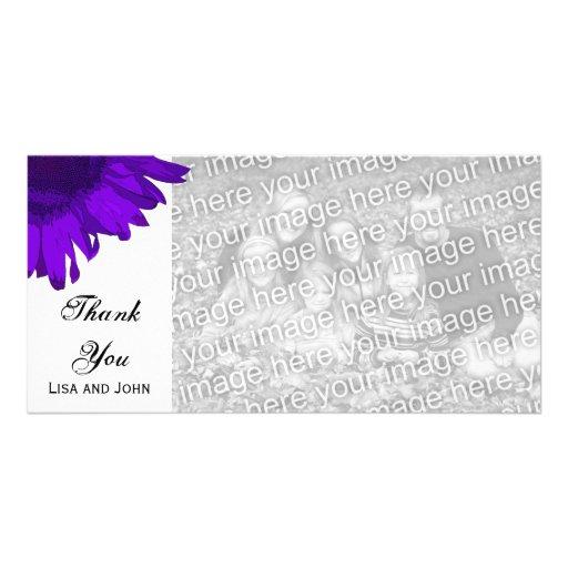 Purple Pop Art Sunflower Thank You Photo Card Template