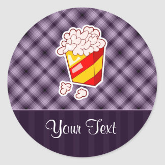 Purple Popcorn Classic Round Sticker