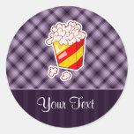 Purple Popcorn Round Sticker