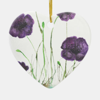 Purple Poppies in the grass Ceramic Heart Decoration