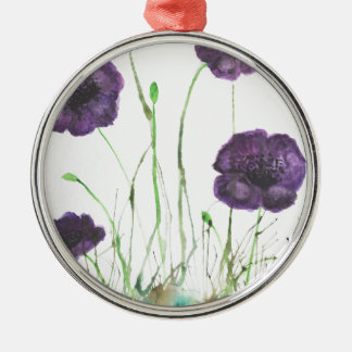 Purple Poppies in the grass Christmas Ornament