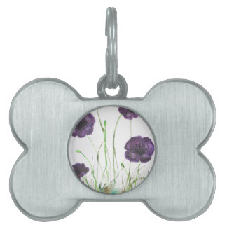 Purple Poppies in the grass Pet Tags