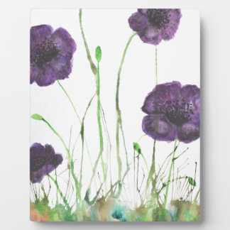 Purple Poppies in the grass Plaque