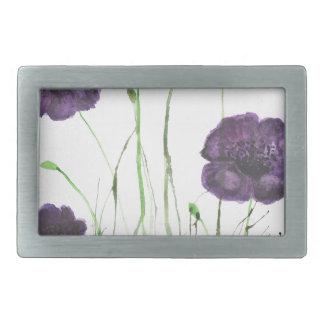 Purple Poppies in the grass Rectangular Belt Buckle
