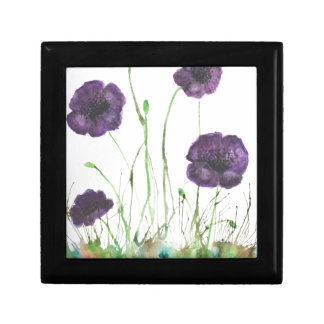 Purple Poppies in the grass Small Square Gift Box