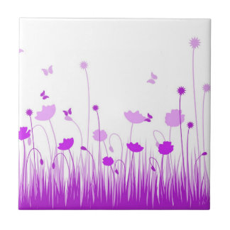 Purple poppies Tile