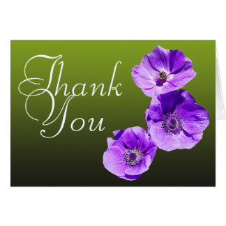 Purple Poppy Colorful Photo Chic Floral Thank You Card