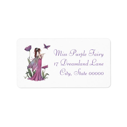 Purple Poppy Fairy and Butterfly Fantasy Art Label