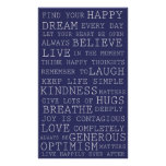 Purple Positive Thoughts Inspirational Words Poster