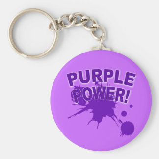 Purple Power with a Big Splat of Paint Basic Round Button Key Ring