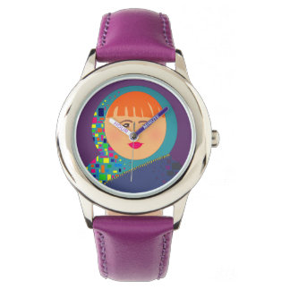 Purple Powerful Woman Face Hipster Fashion Cool Watch