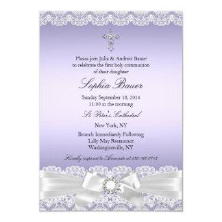 Purple Pretty Bow Cross Holy Communion 13 Cm X 18 Cm Invitation Card