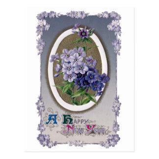 Purple Primrose Vintage New Year Postcard