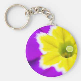 Purple Primula Basic Round Button Key Ring