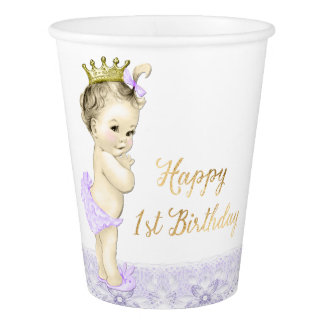 Purple Princess 1st Birthday Paper Cups
