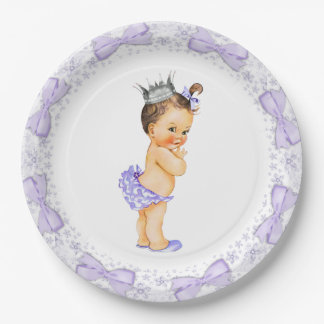 Purple Princess Baby Shower Paper Plate