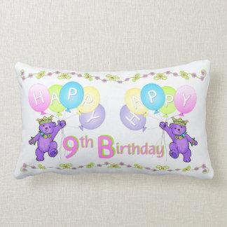 Purple Princess Bears 9th Birthday Throw Pillows