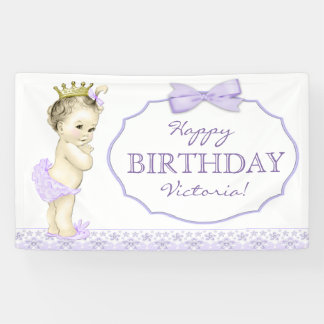 Purple Princess Birthday Party Banner