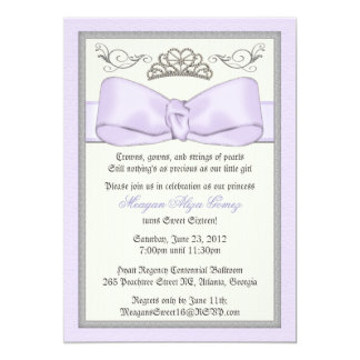 Purple Princess Bowed Invite