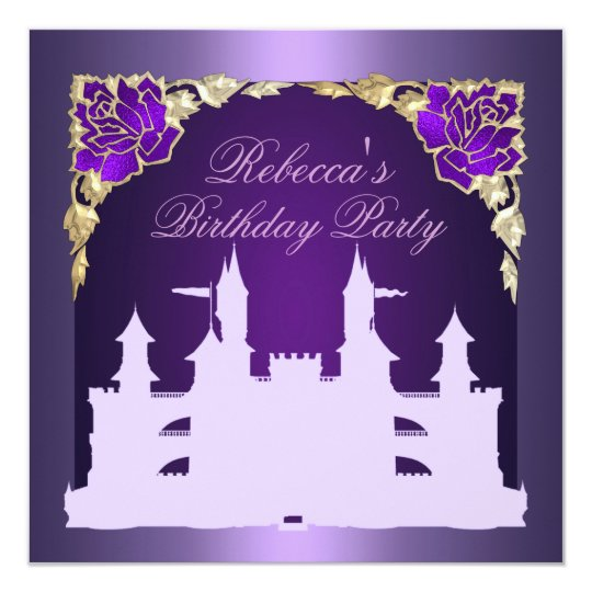 Purple Princess Castle Birthday Invitation